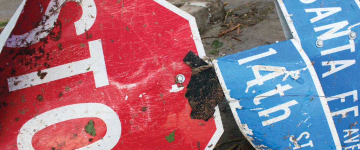 Moore Oklahoma Street Sign Damaged by Storm